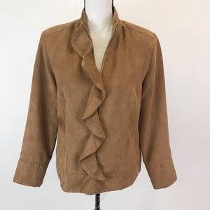 Christopher&Banks Faux Suede Ruffle Jacket M